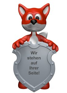 fuchs mit schild - 3d illustration